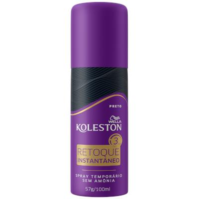 Tintura para Cabelo spray retoque instantâneo preto 100ml Koleston/Wella frasco UN