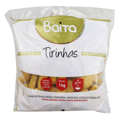 Tirinhas de Frango empanado congelado por kg Baita  KG