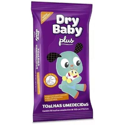 Toalhas Umedecidas  50 unidades Dry Baby sachê UN