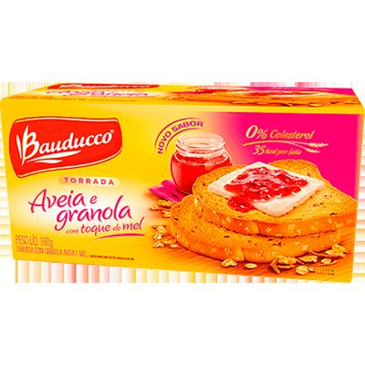 Torrada granola aveia e mel 160g Bauducco pacote UN