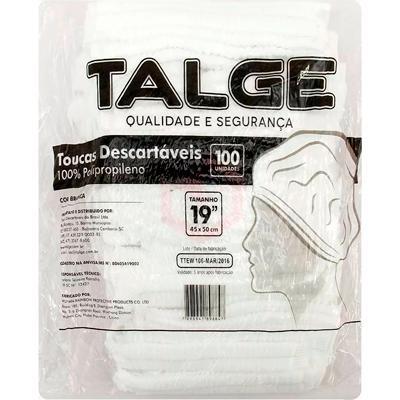 Touca descartável branca 100 unidades Talge pacote PCT