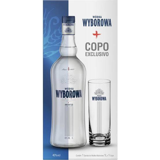 Vodka  1Litro com copo Wyborowa garrafa UN