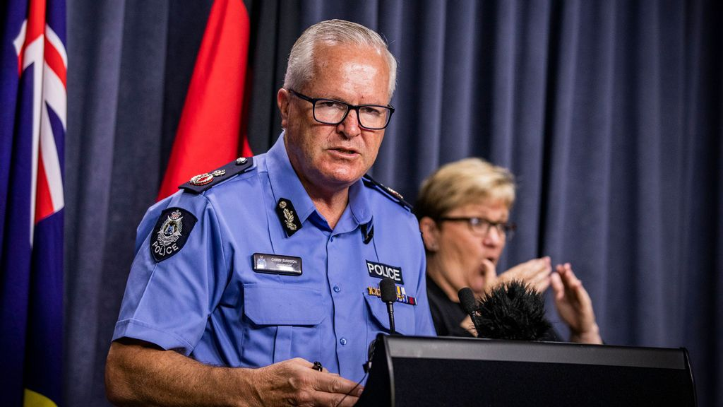 Police Commissioner Chris Dawson highlighted a siege at a pharmacy south of Perth in April which led to Tactical Response Group officers being sent in. (Tony McDonough/POOL/AAP Image)