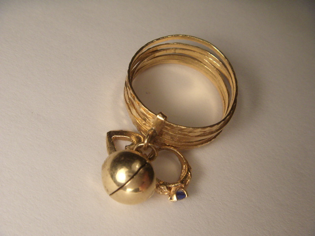 Gorgeous Estate Stacking 14K Rose Pink Gold Heart Bell Charm Ring