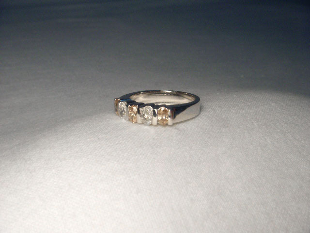 Fabulous Estate 18K White Gold Champagne Diamond Wedding Ring Band