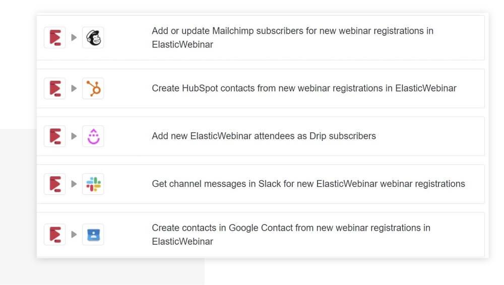 ElasticWebinar Zapier integrations