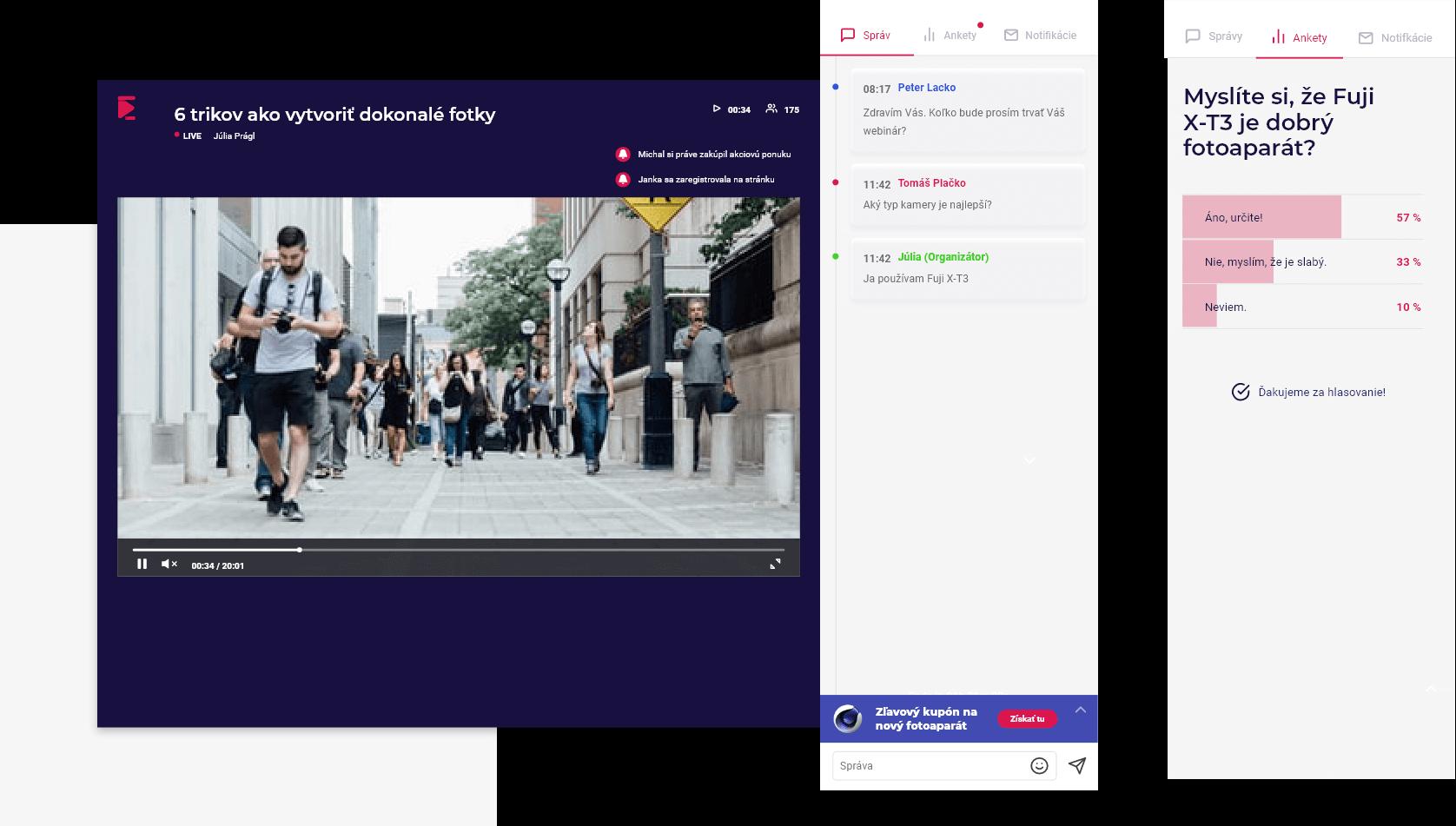 Živé vysielanie webinárov a simulované udalosti