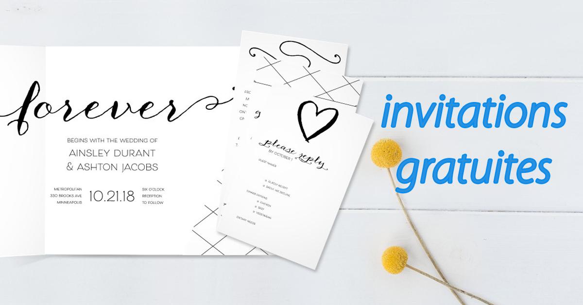 Ensemble d'échantillons d'invitation de mariage gratuit