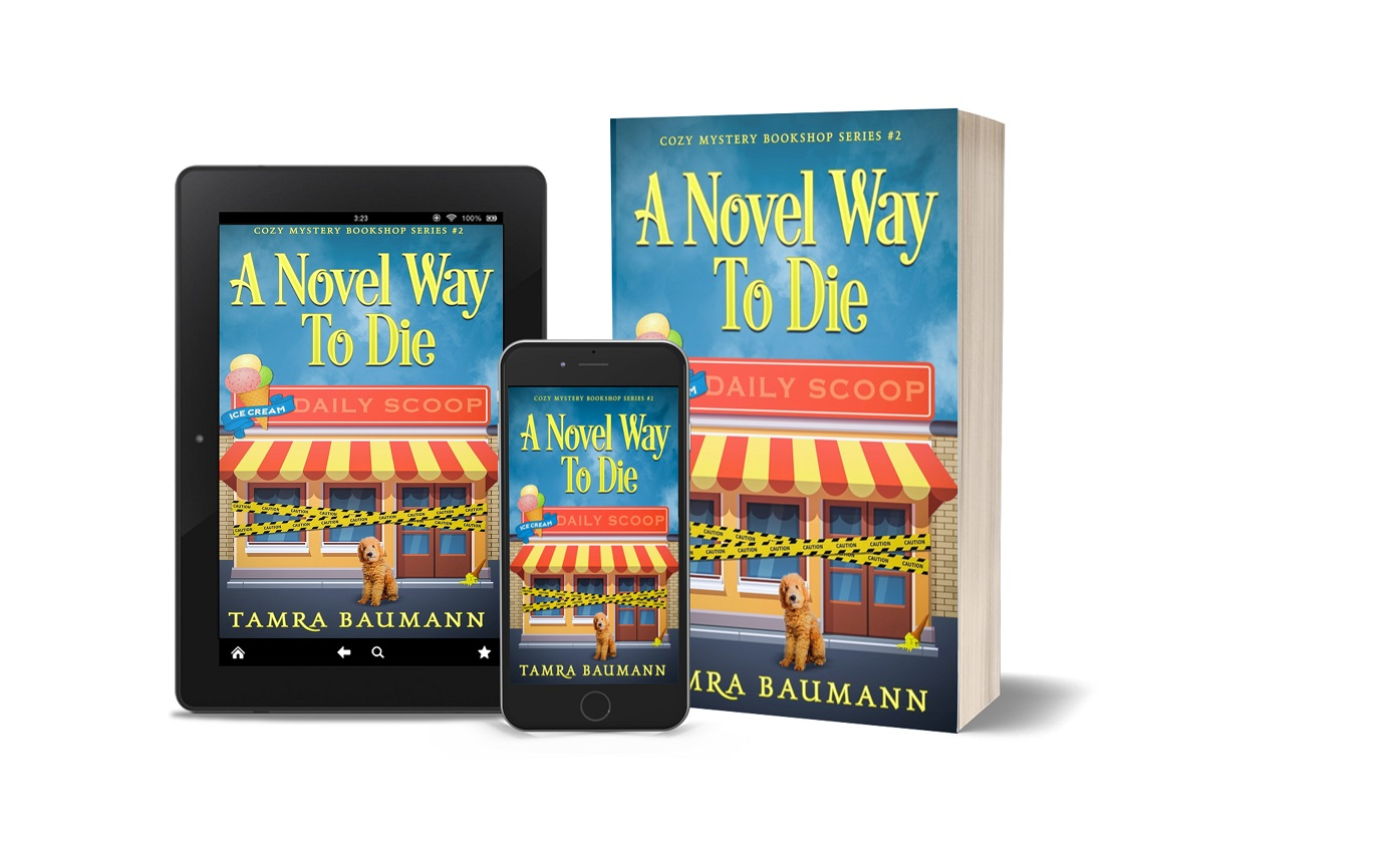 A Novel Way to Die tablet, phone, paperback