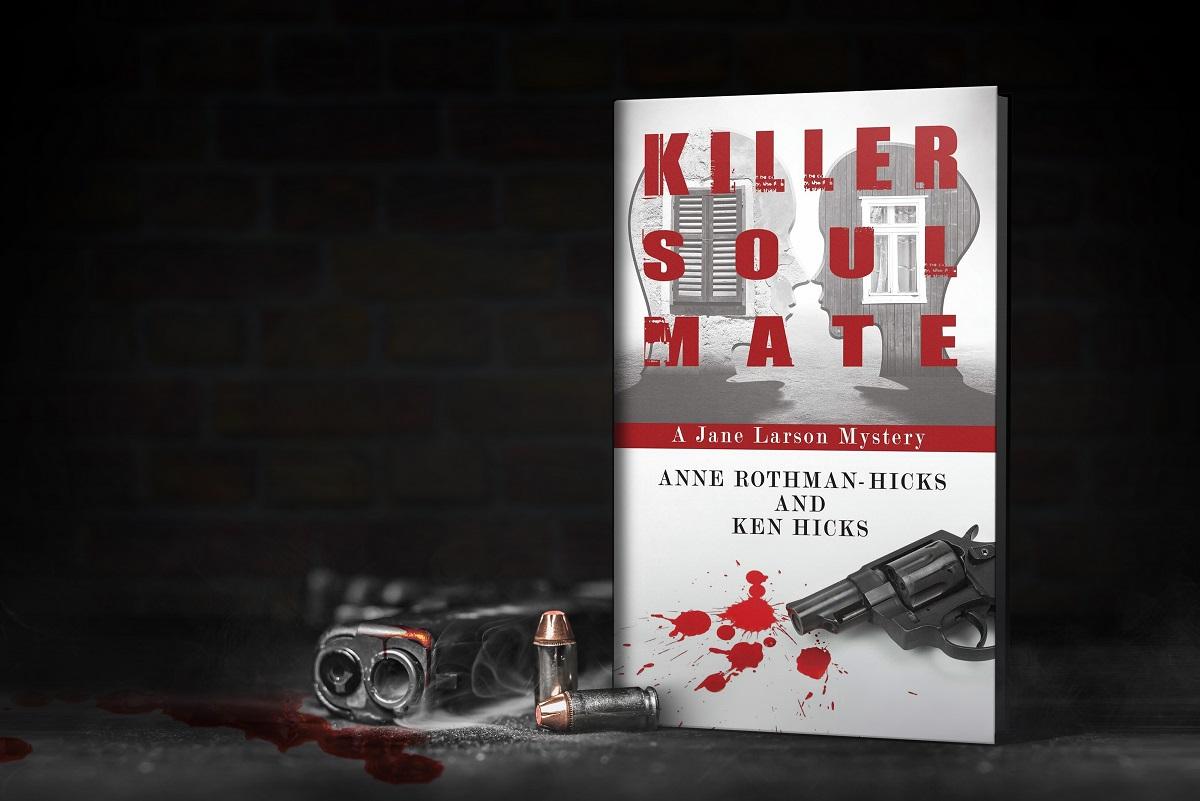 Killer Soul Mate standing book with smoking gun