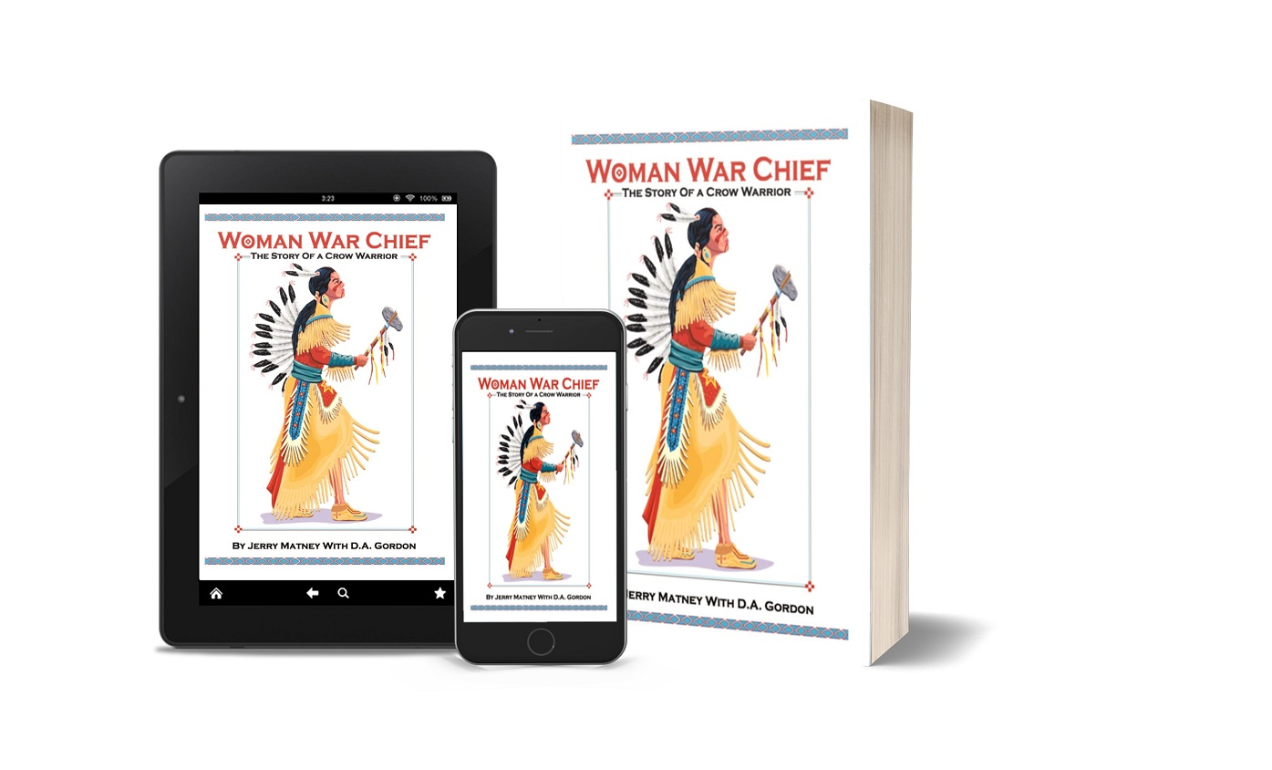 Woman War Chief tablet, phone, paperback