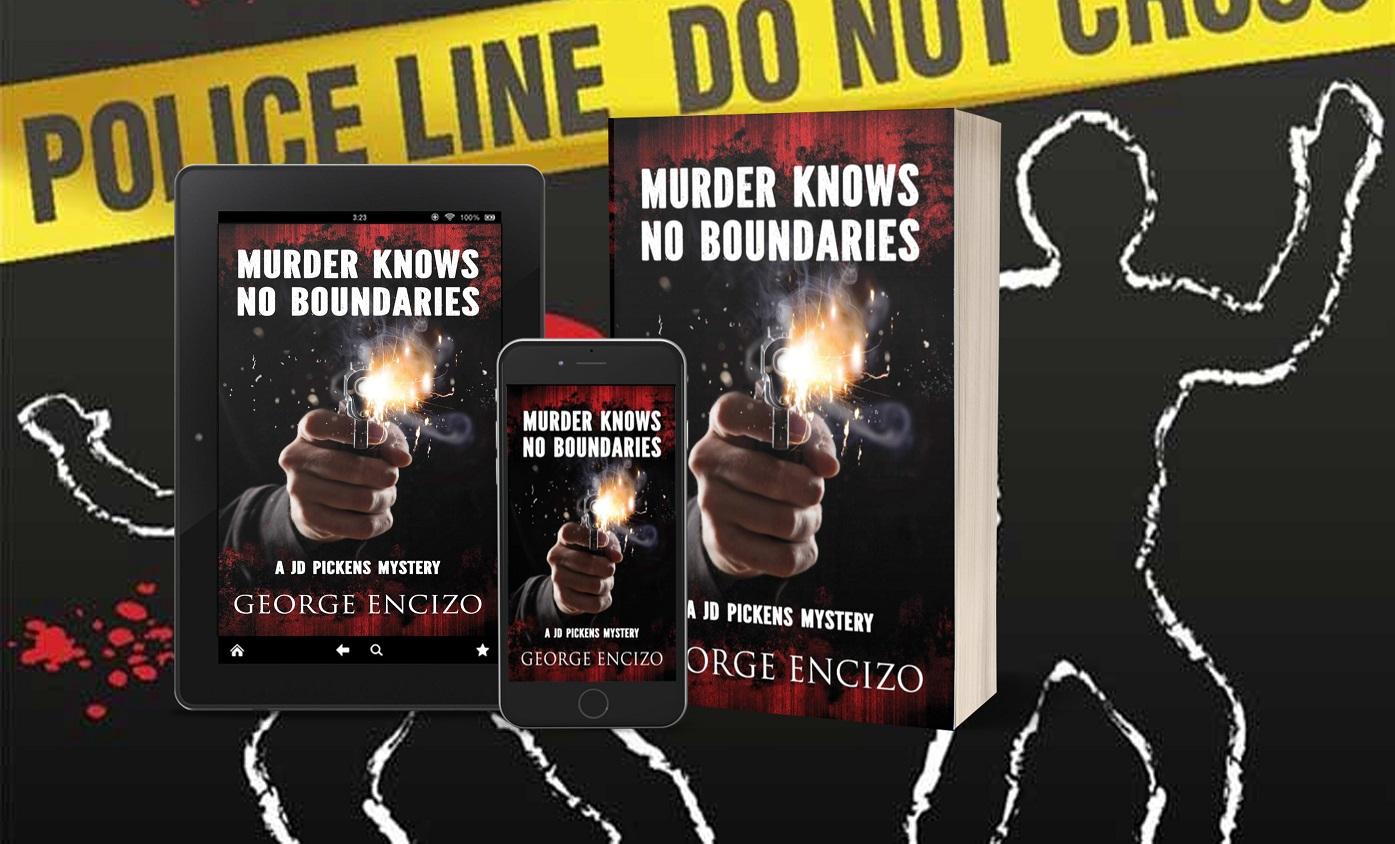 Murder Knows No Boundaries tablet, phone, paperback