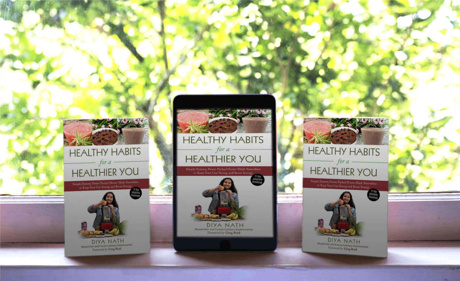 Healthy Habits for a Healthier You tablet, phone, book