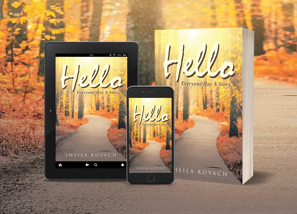 Hello, Everyone Has a Story tablet, phone, paperback
