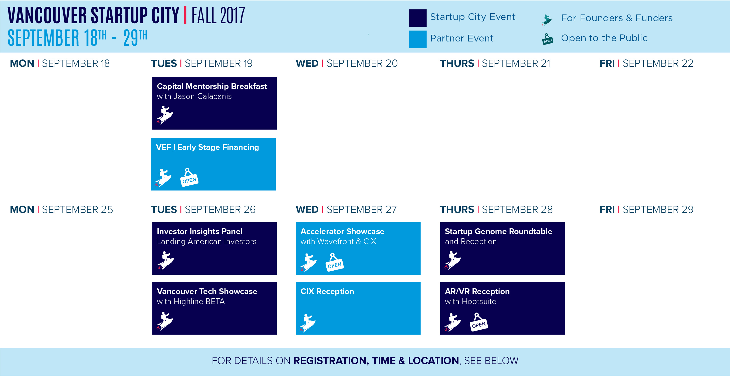 Vancouver Startup City Fall 2017 Calendar of Events