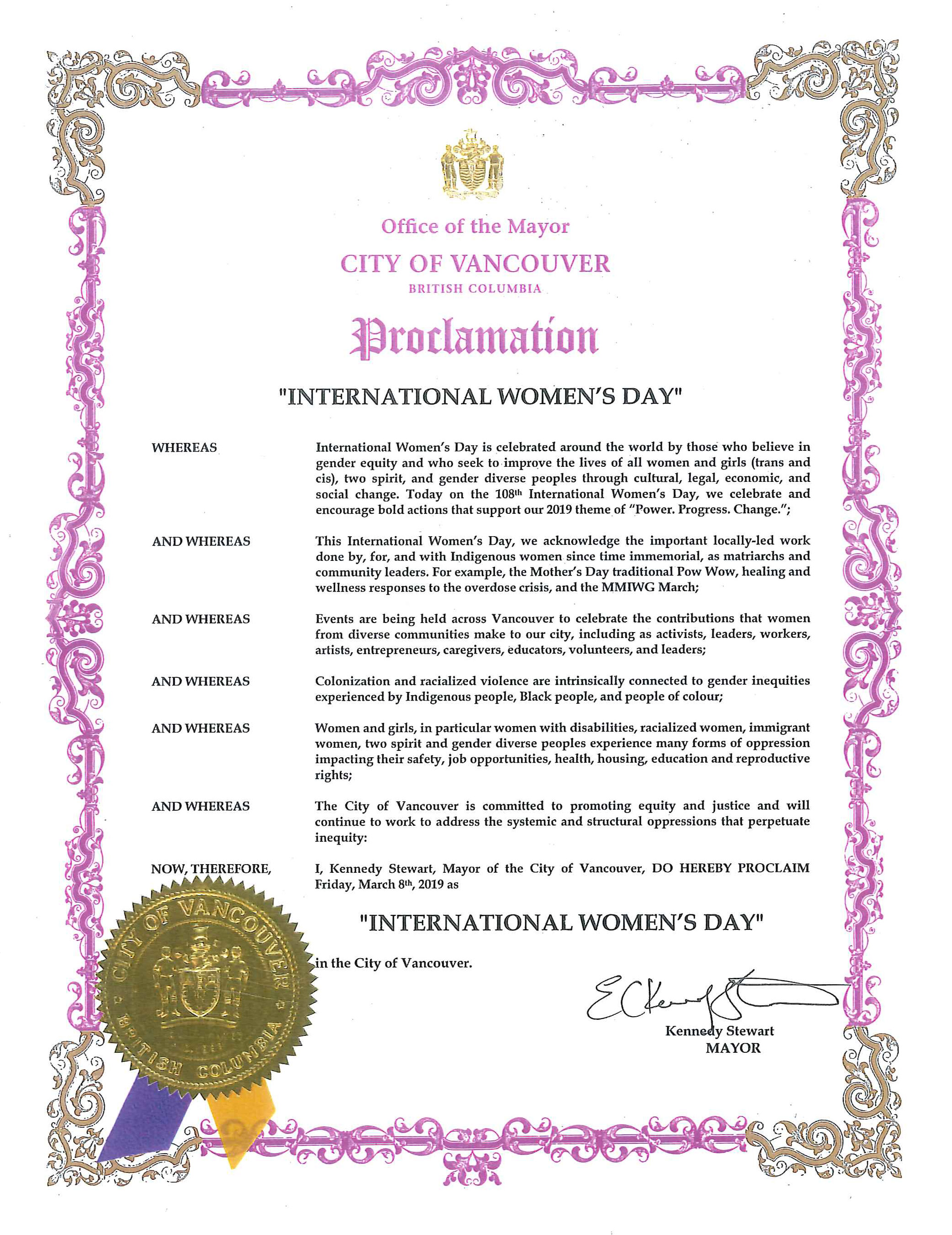 City of Vancouver | Mayor Kennedy Stewart | International Women's Day Proclamation March 2019