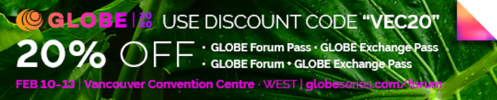 "Use discount code ""VEC20"" for 20% off GLOBE Forum Passes and GLOBE Exchange Passes."