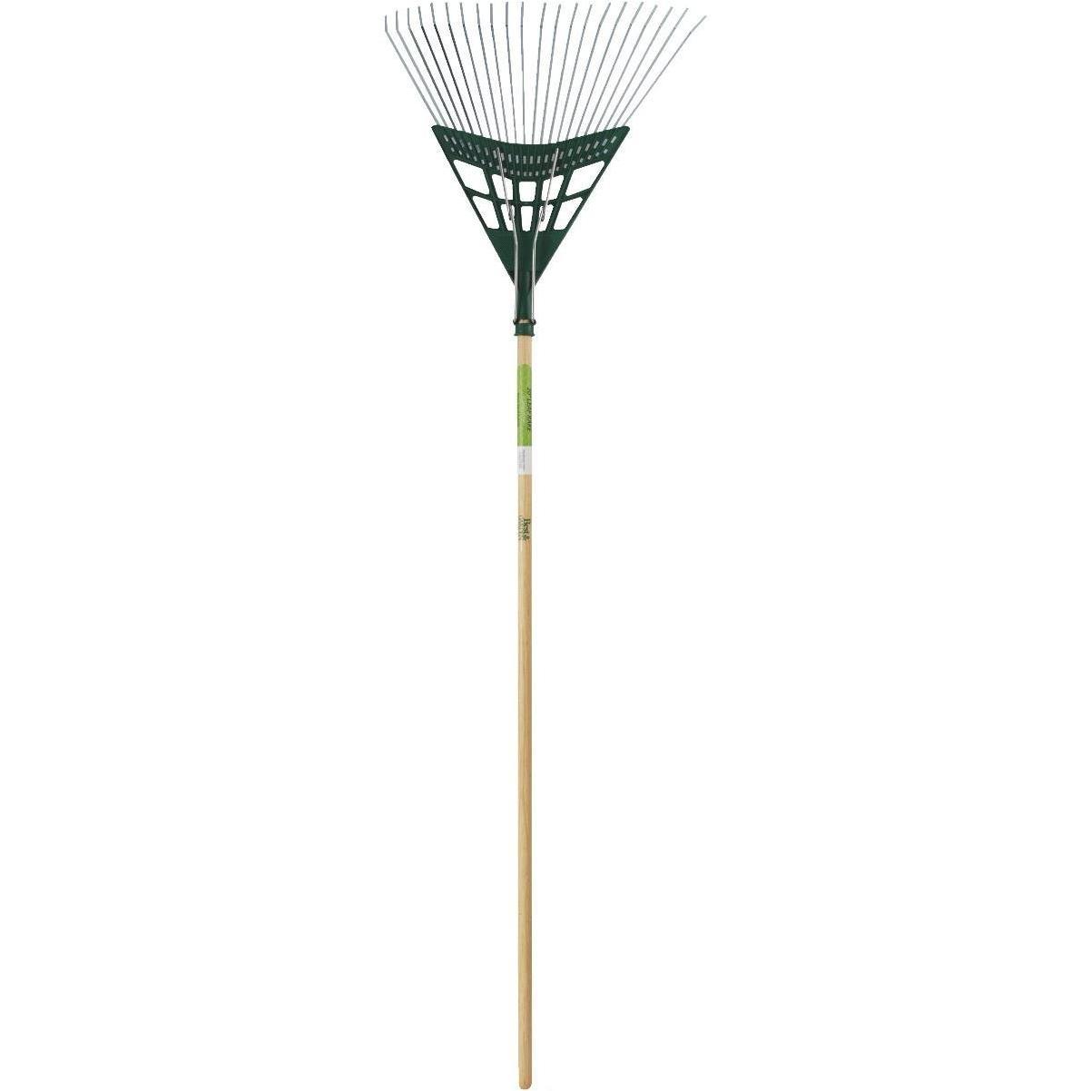 Steel Garden Leaf Rake with Extra Grabber Head Adjustable Lightweight Aluminum Handle Steel Head 25 Tines 96.5 to 145 cm Silver Handle