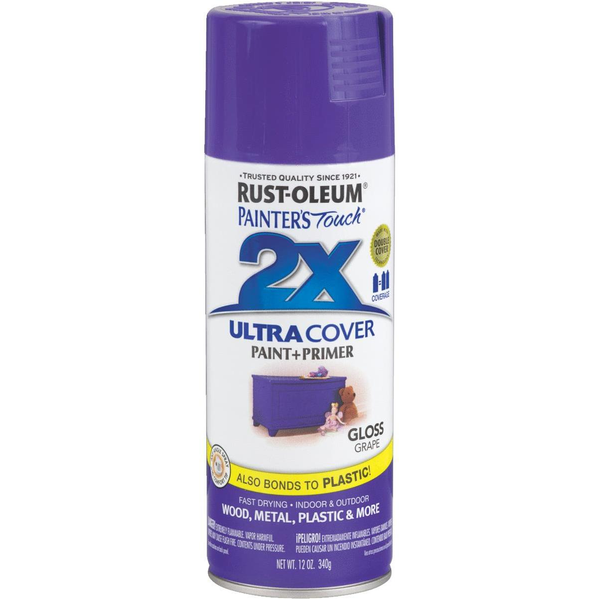 Rust Oleum Painter S Touch 2x Ultra Cover 12 Oz Gloss Paint Primer Spray Paint Grape Bloomer Hardware