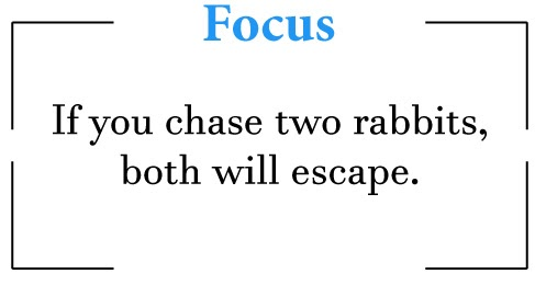 If you chase two rabbits, both will escape.