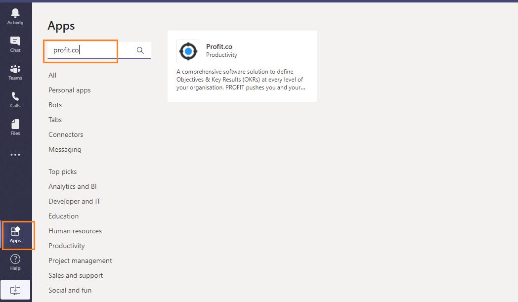 MS Teams App window