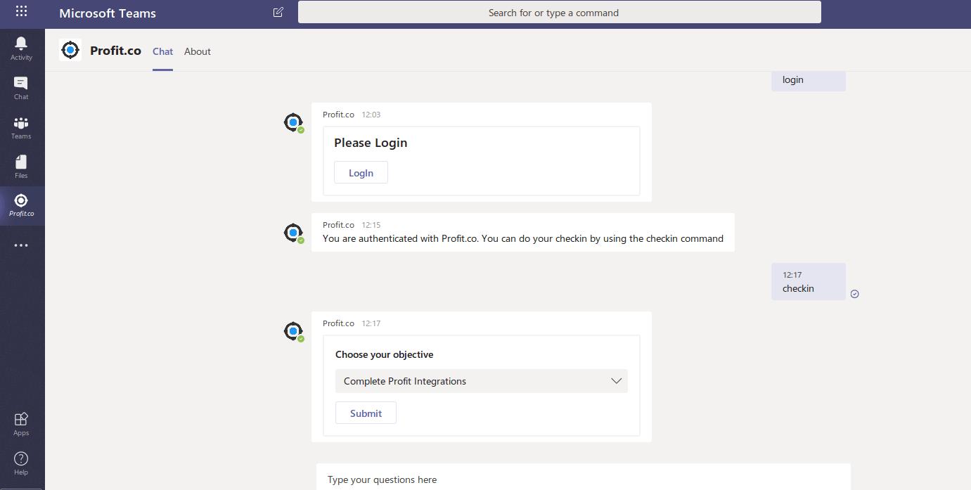 ProfitCo Checkin Command in MS Team
