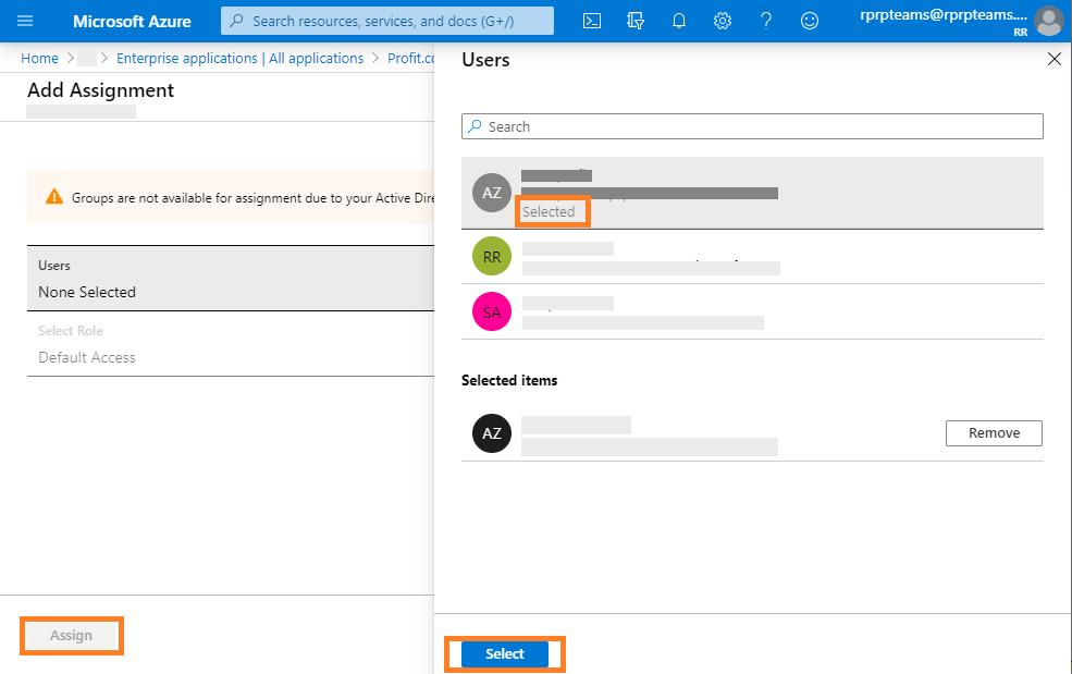 Azure user selected
