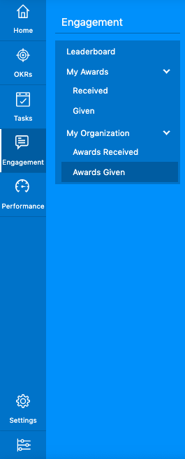 Engagement menu - Awards given