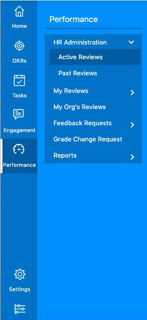 Performance management menu