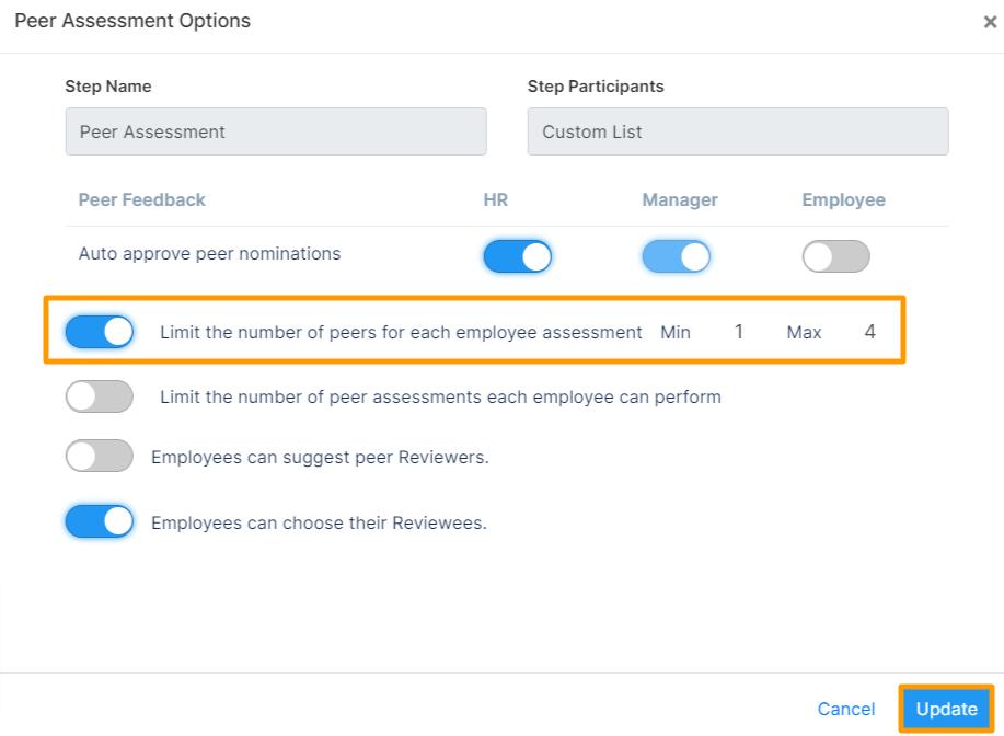 peer assessment option
