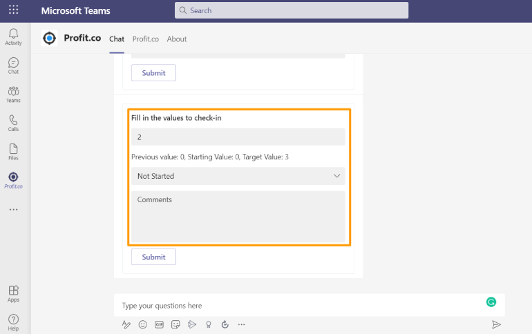 ProfitCo Check-in Command in MS Team