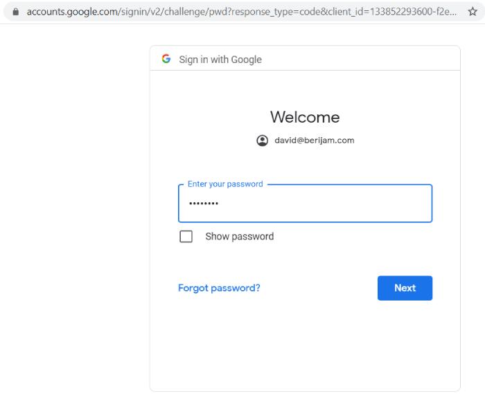 sign-in bigquery-password