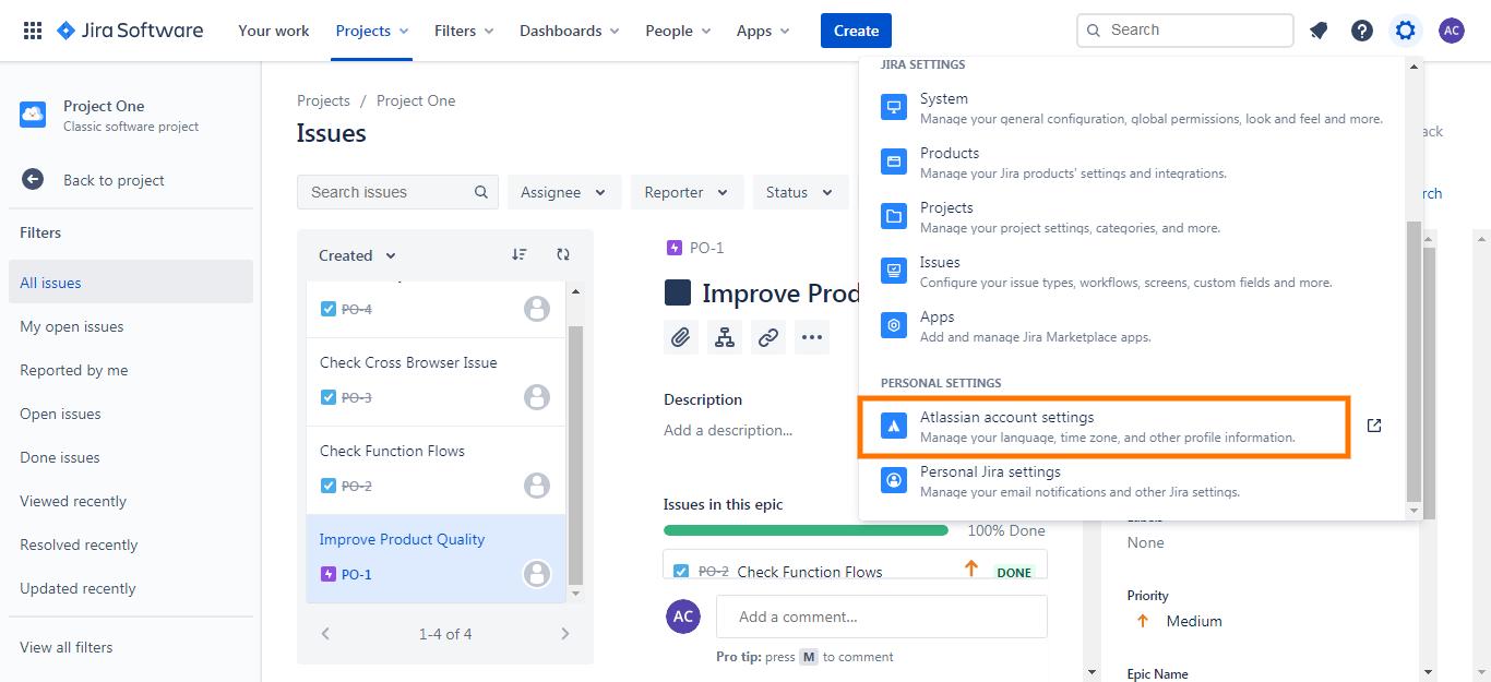 Atlassian Account Settings