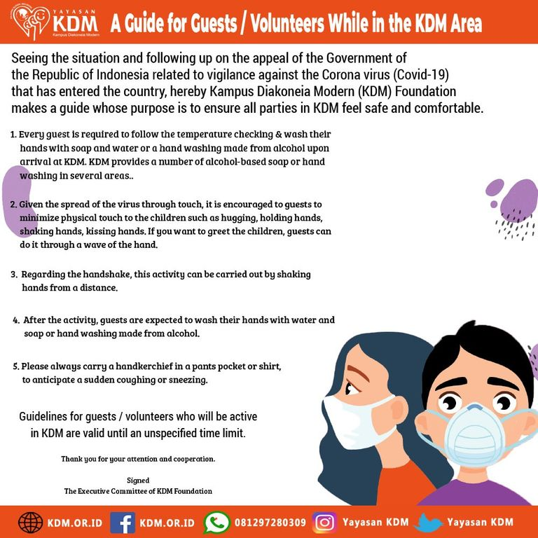 Alert Corona Virus, KDM Publish a Guide for Guests and Volunteers