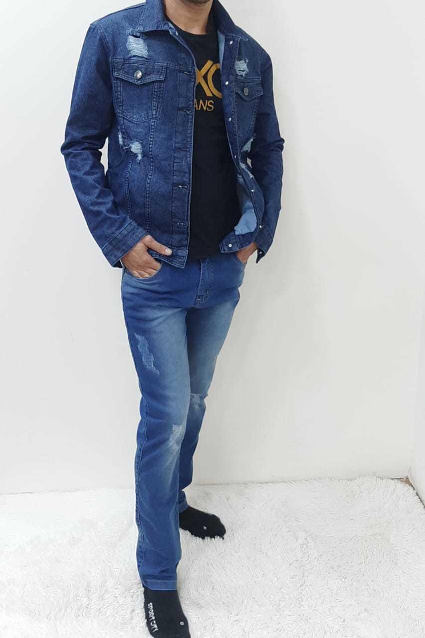 Jaqueta Masculina Adulto Jeans Rasgada REF 5980