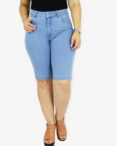 Bermuda Dinho's Jeans Básica Delavê Feminina ref. 1141