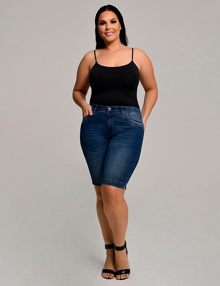 Bermuda Jeans Feminina Ciclista Plus Size Fact Jeans ref. 03967