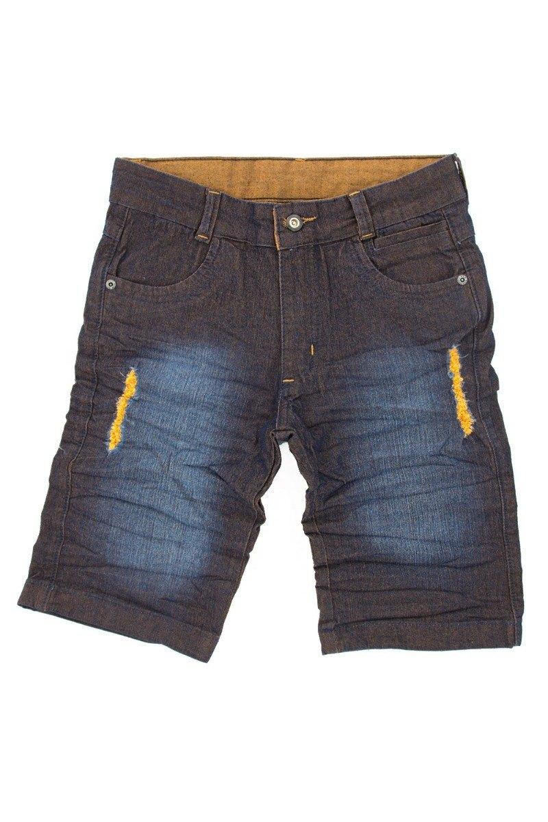 Bermuda Jeans Juvenil Meninos detalhes Caramelo Tamanhos 10 ao 16 [Ref 5067]