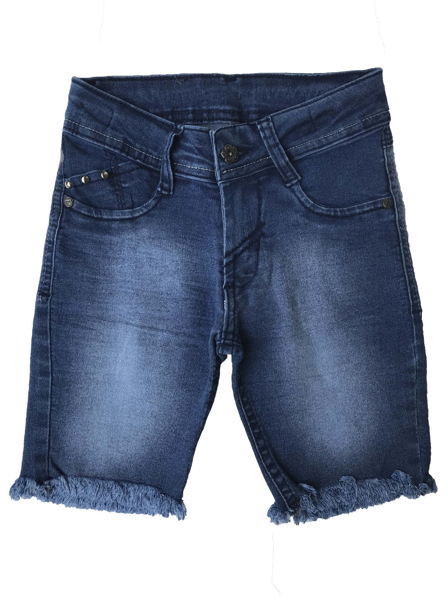 Bermuda Jeans infantil Ciclista Feminina barra desfiada [616]
