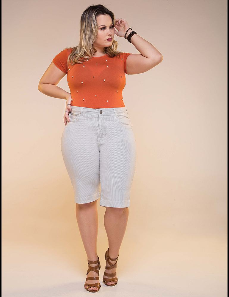 Bermuda Sarja Ciclista Feminina Fact Jeans - Plus Size Ref. 04024