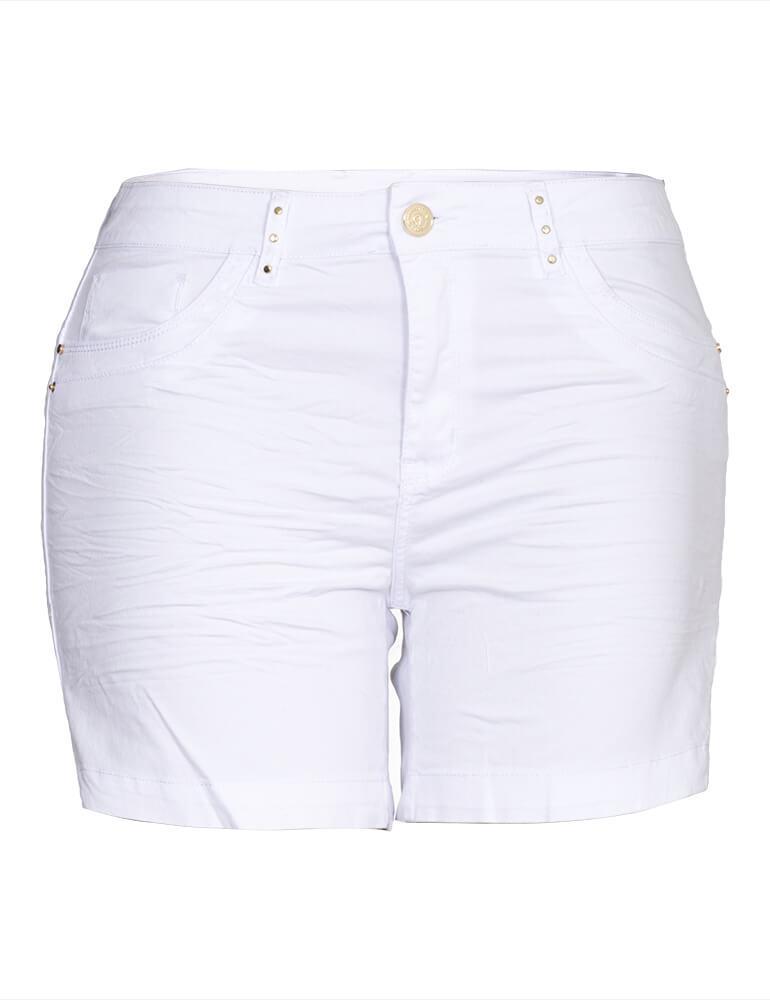 Bermuda Sarja Feminina Meia Coxa Fact Jeans Plus Size ref. 03964 - Branca