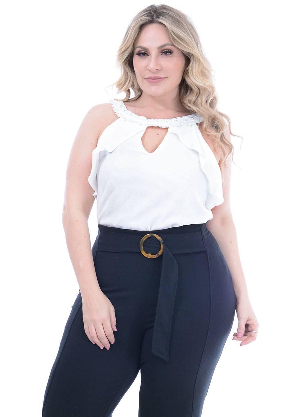 Blusa em Crepe com Babado e Gola Bordada ref. PV17246