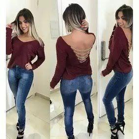 Blusa Tricô Feminina Tendência Costas Nuas Correntes cód.01 Oferta