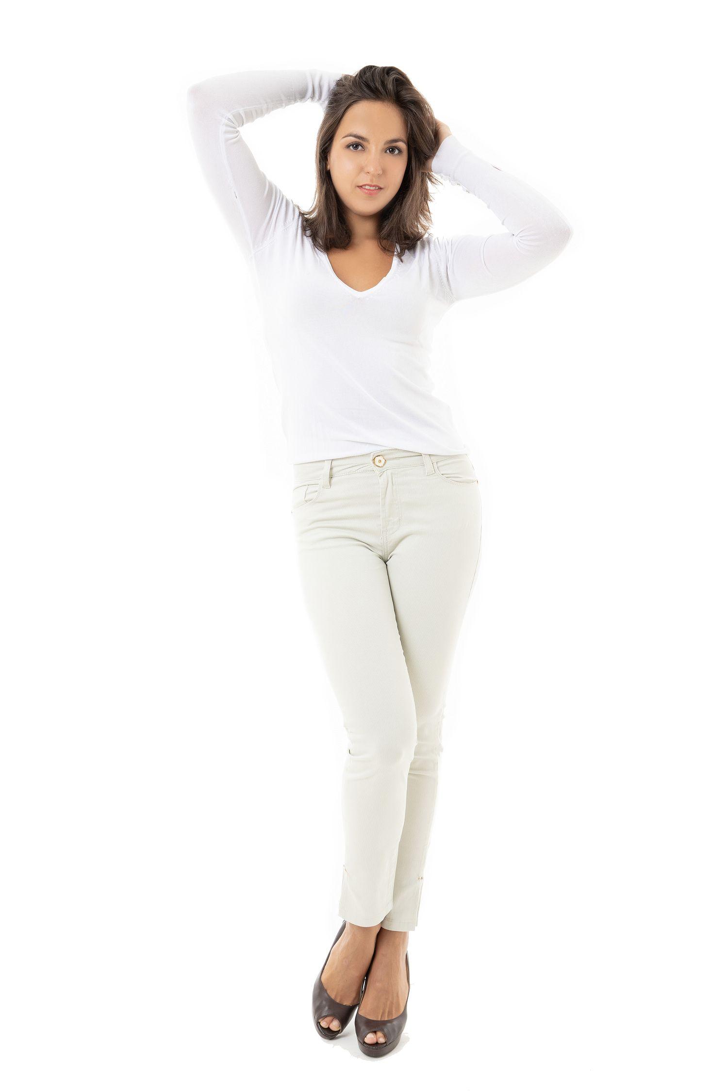 Calça Cropped Feminina Fact Jeans ref. 03712 - Areia