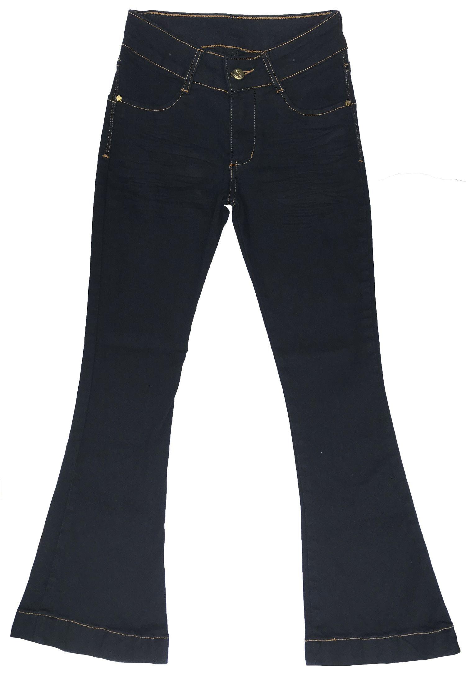 Calça Flare Feminina Infantil Jeans Azul [610]
