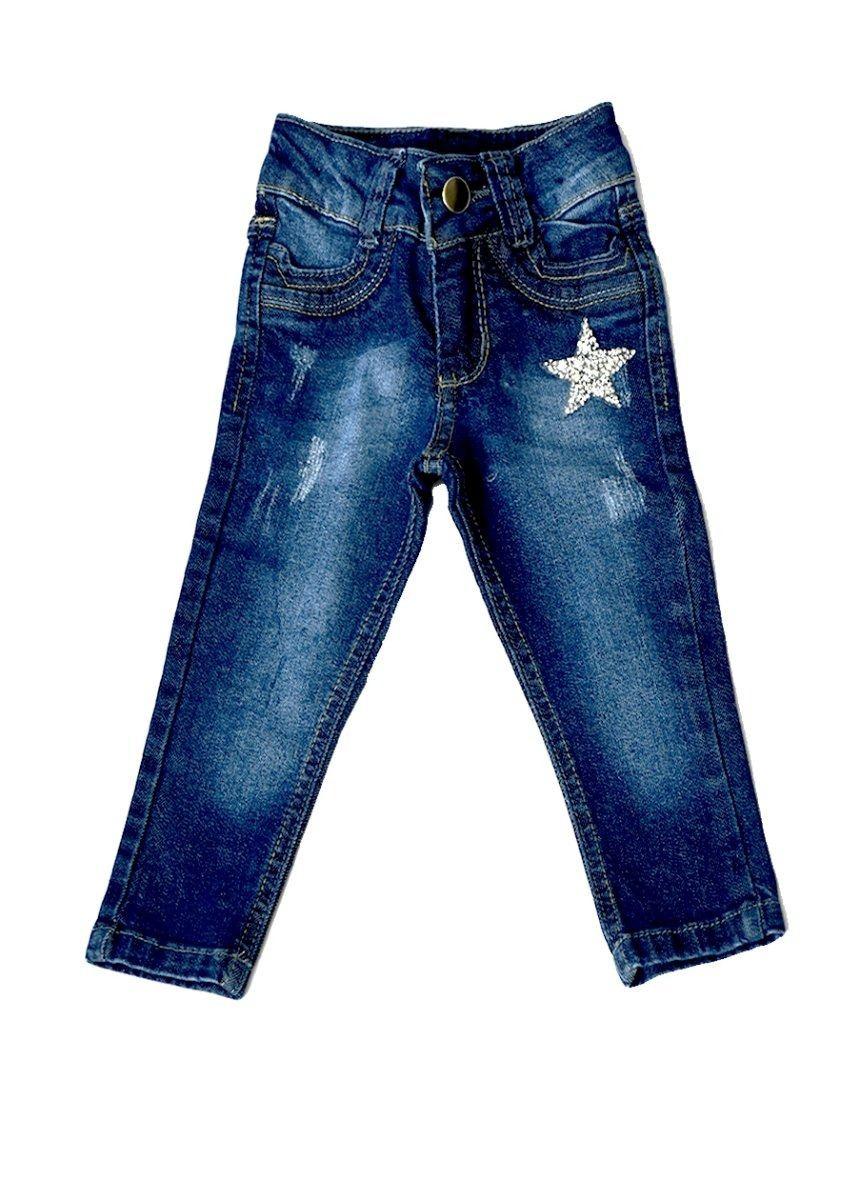 Calça Jeans Bebê Meninas com Patch Estrela Tamanhos 01, 02 e 03 [Ref 1880]