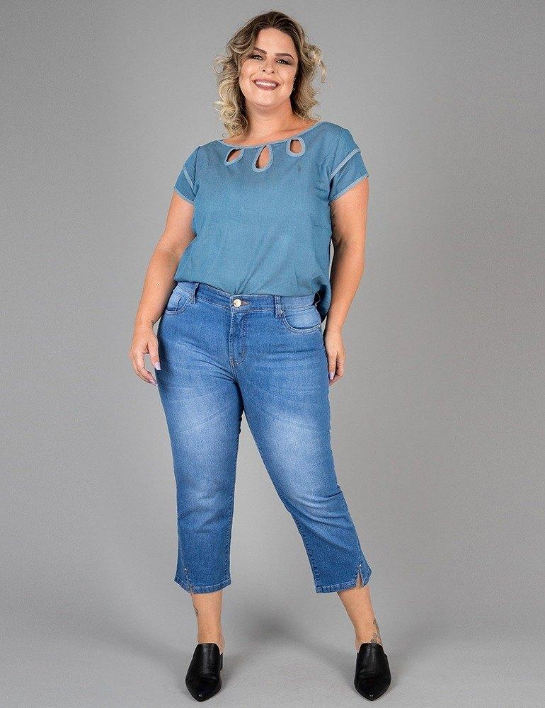 Calça Jeans Capri - Plus Size 3927