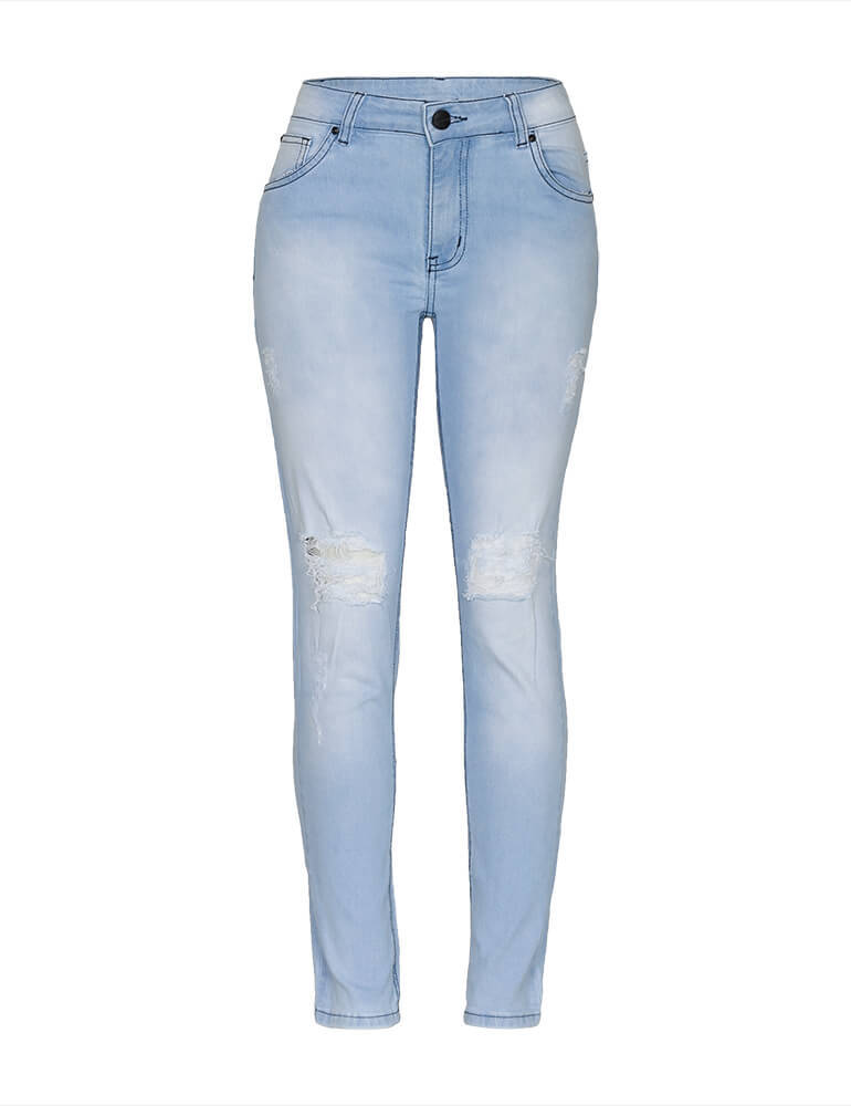 Calça Jeans Cigarrete Destroyed Feminina Fact Jeans ref. 03525