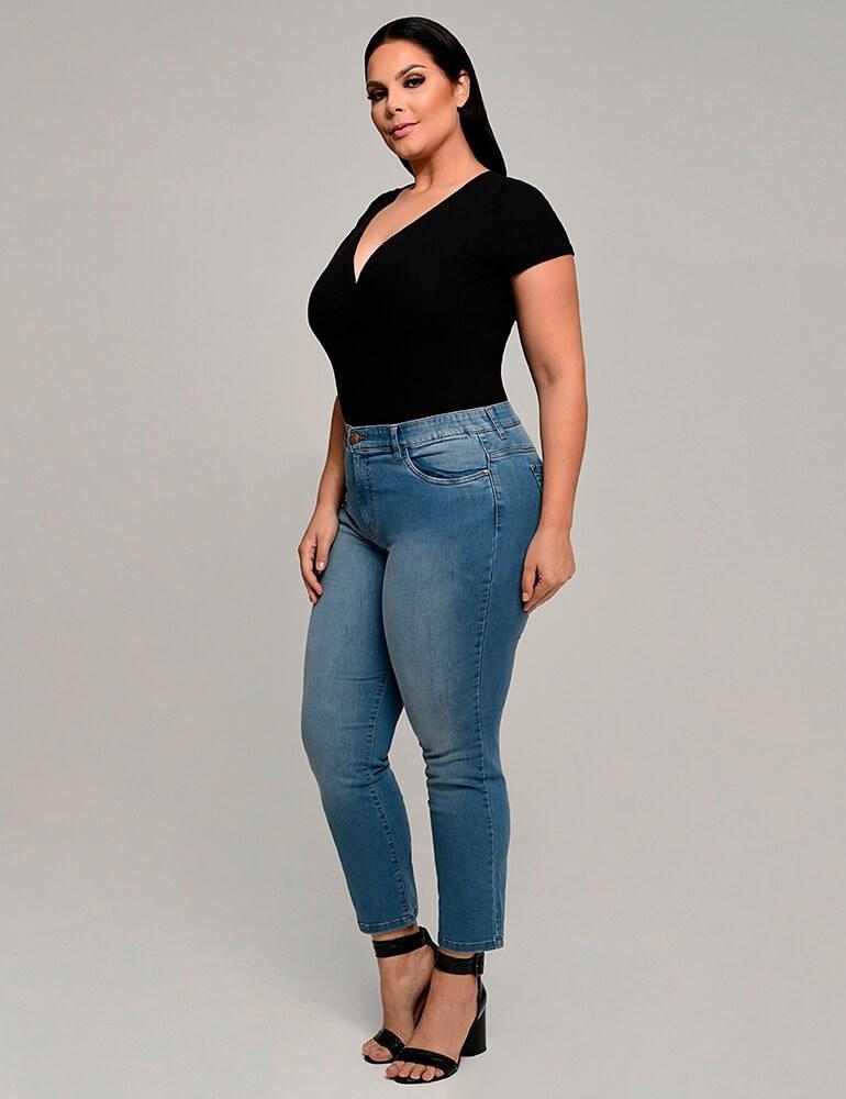 Calça Jeans Cigarrete Feminina Fact Jeans ref. 03877 - Plus Size