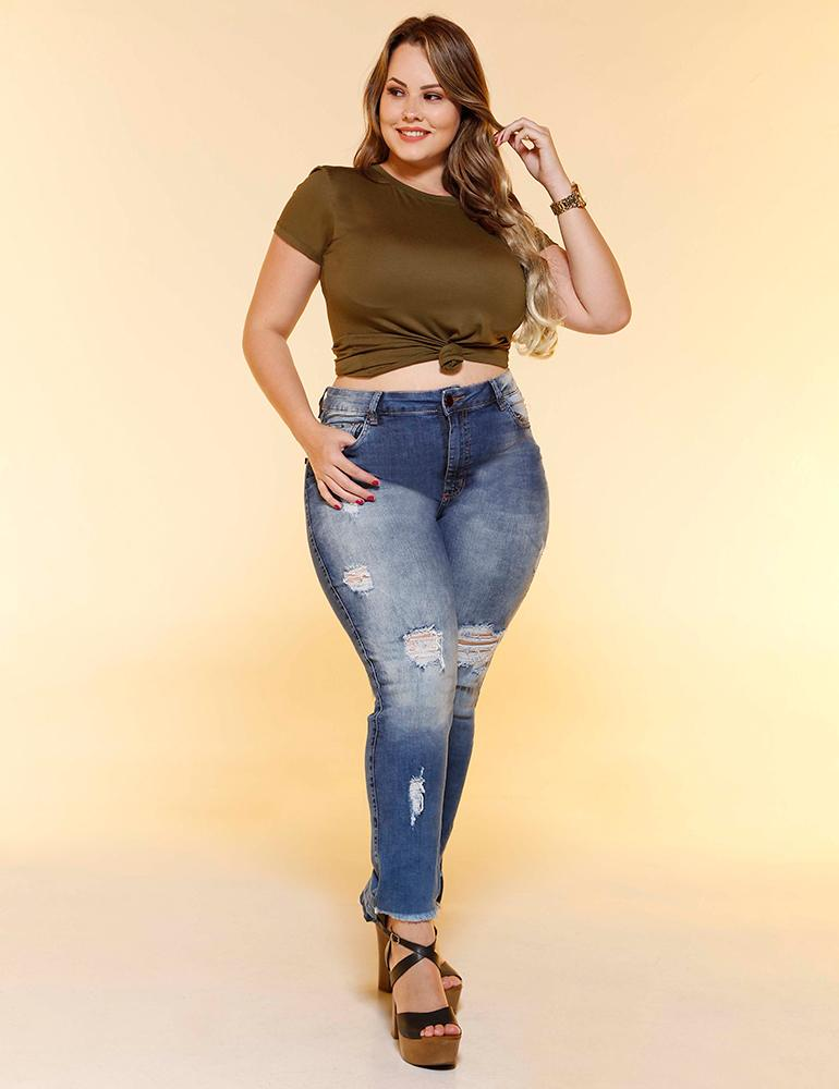 Calça Jeans Cropped Destroyed Feminina Fact Jeans ref. 04356 - Plus Size